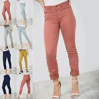Ladies Skinny Slim Faded Denim Full Ankle Length Stretchy Womens Jeans Trousers