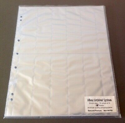 24 Sheets 35mm Film Negative Sleeves 10 Strips Of Four Storage Archival System