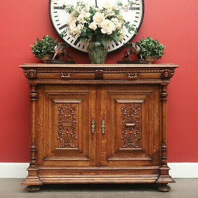 Antique French Oak Sideboard, 2 Drawer Hall Cabinet Buffet Kitchen Cabinet