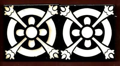 Antique Inlaid Highly Glazed Pair of Tiles C1890