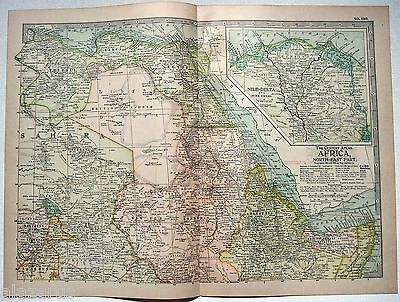 Original 1902 Map of Northeastern Africa - A Nicely Detailed Lithograph. Antique