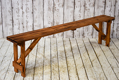 Vintage Style Wooden Trestle Table Folding Bench Set LOTS AVAILABLE