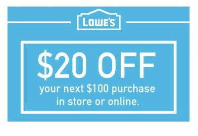 1x One Lowes $20 OFF $100 1Coupon-Instore and Online -- Fast Delivery--