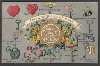 Postcard The Language of Keys antique lock Locksmith message Embossed early key