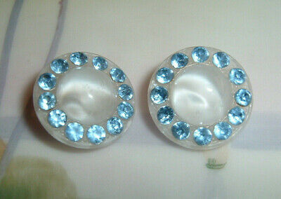 """2 Lovely Vintage La Mode White Moonglow Glass Buttons With Blue Rhinestones 3/4"""""""