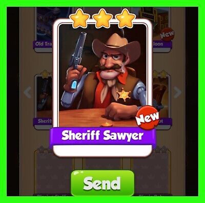 Sheriff Sawyer NEW Coin Master Card Cyber Cowboys Set (Fastest Delivery)