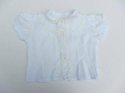 vintage blouse 50's white lace puffed sleeves peter pan collar age 2 cotton lace