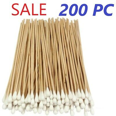 "200 COTTON SWAB TIPPED APPLICATORS 6"" inch Long Wood Handle, Extra Cotton"