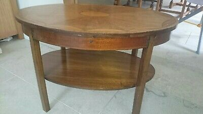 Antique Oval shaped coffee table with marquetry inlay