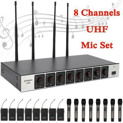 8CH Wireless Microphone UHF Handheld Lavalier MIC Transmitter Receiver System UK