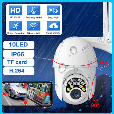 10 LED 1080P HD IP Camera Waterproof WiFi PTZ CCTV Security Wireless IR Cam IP66