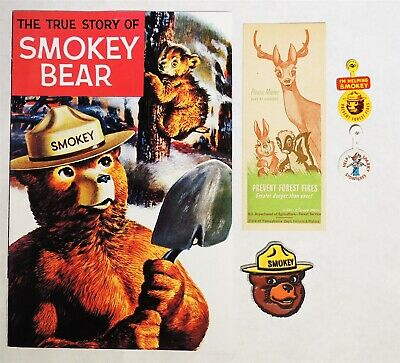 ESAR0328 Vintage Lot of 5 Smokey the Bear Comic 5.0 VG Ruler, Buttons, Charm 60s