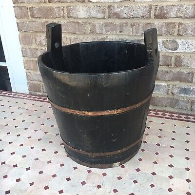 Large Primitive Antique Wooden Farm Bucket Pale Metal Stave Bail Wood Well