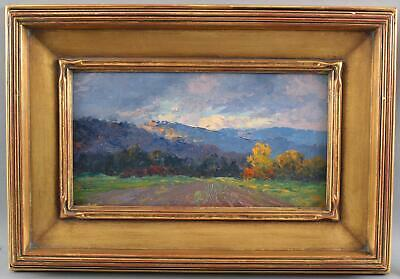 Small Antique WILL HUTCHINS American Impressionist Autumn Landscape Oil Painting