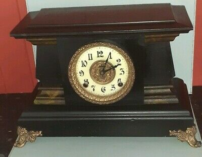 Antique Large American Wooden Marble Effect Mantle Clock