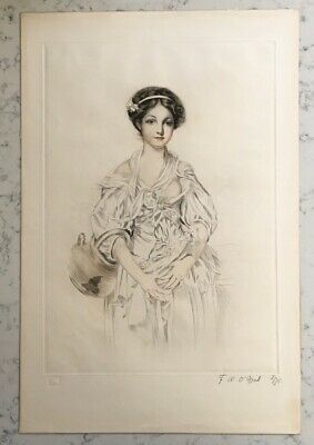 Antique Hand Colored Pencil Signed Print Fw O'neil French 19Th Century Portrait