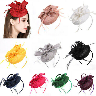 Bow Fascinators Headband Clip Feather Pillbox Hatinator Royal Ascot Race Hats UK