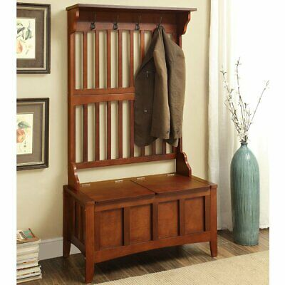 Walnut Finish Wooden Hall Tree Storage Bench Entryway Stand Coat Rack Hat Hooks