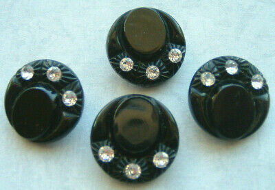 4 Glamorous Glossy Vintage Black Glass Hat Buttons With Rhinestones In The Brim