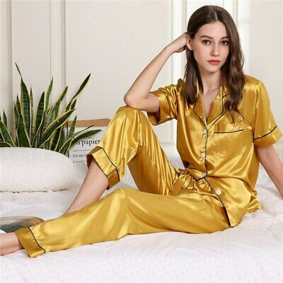 Silky Satin Women Pyjama Set Short Sleeve Nightwear Female Sexy Top+Pants