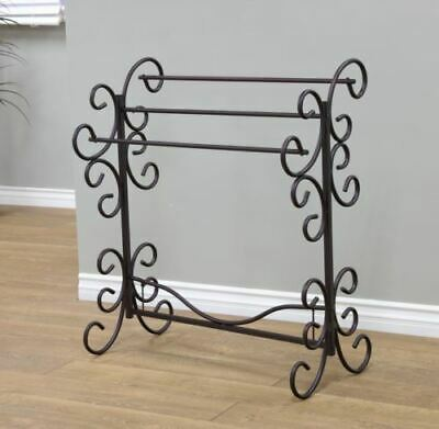 Black Metal Quilt Rack Stand Blanket Towel Storage Display Scroll Hanger Holder