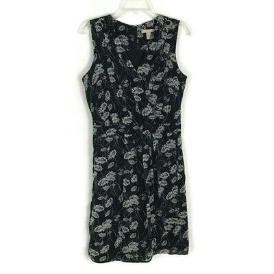 Promesa Womens Black Floral Faux Wrap Sleeveless Embroidery Lined Dress