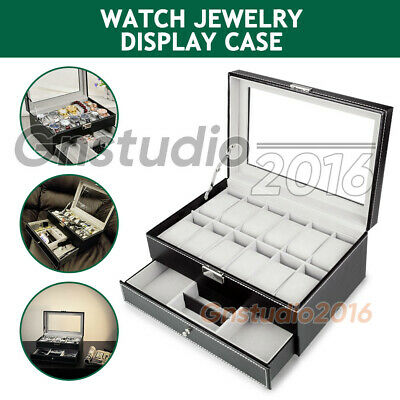 Watch Jewelry Display Case Storage Holder Box 12 Grids Organizer PU Leather