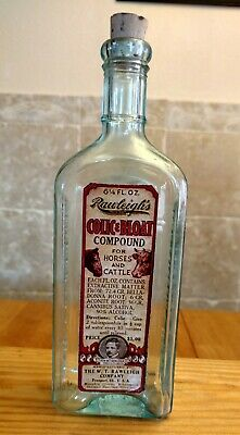 Vintage Medicine Hand Crafted Bottle, Rawleigh's Colic Med for Horses w/Cannabis