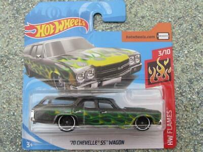 Hot Wheels 2019 #056/250 1970 chevy CHEVELLE SS WAGON grey with green flames @H