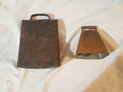 Antique Copper Cow Bell and Large Cow Bell Vintage Farm Tools