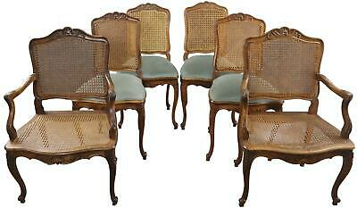 Dining Chairs Louis Xv Rococo Set 6 Walnut Antique French 1900 Blue Fabri