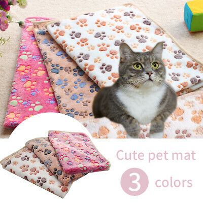 Warm Pet Mat Small Large Paw Print Cat Dog Puppy Fleece Soft Blanket Cushion