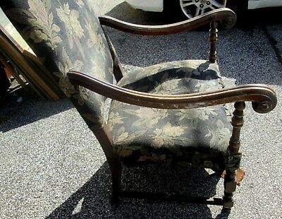 Antique American Jacobean Style Arm Chair Original Fabric Very Cheap As Is