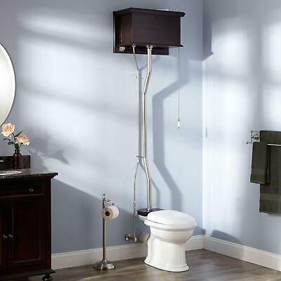 Mahogany High Tank Pull Chain Water Closet - REAR OUTLET Bowl - Nickel Trim