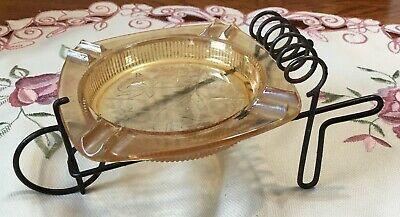 Vintage  Wire & Glass Wheelbarrow Ashtray