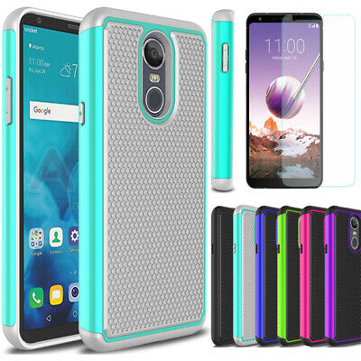 For LG Stylo 4 Shockproof Armor Rugged Hybrid Hard TPU Case Cover+Tempered Glass
