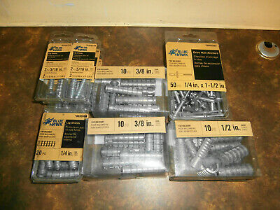 Blue Hawk 62 piece assorted LAG SHIELDS & 50 piece Drive Nail Anchors NEW!