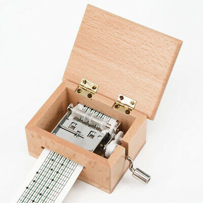 DIY Hand-cranked Music Box Wooden Box Gift W/ Hole Puncher & Paper Tapes Kit Top