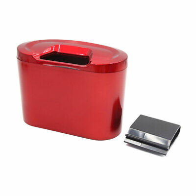 Red Mini Auto Car Garbage Dust Case Holder Box Hanging Trash Bin Rubbish Can