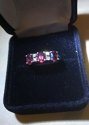 Vintage Antique Garnet 3 Stone Sterling Silver Ring Size 8 Beautiful
