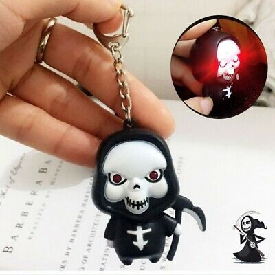 Halloween Creative LED Death Ghost Key Chain Horror Sound Skeleton Keychain Gift