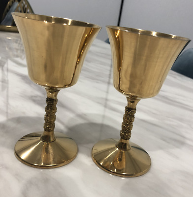 Set Of 6 24K Gold Plated Famipa Prizen Vintage Wine Goblets Chalices