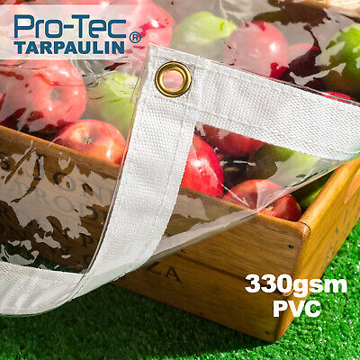 330gsm Heavy Duty Glass Clear Waterproof PVC Tarpaulin Animal Stall Cover Sheet