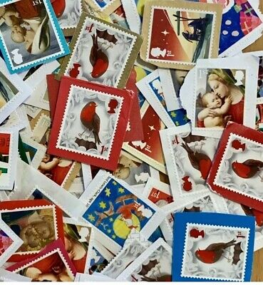 50 Genuine Unfranked 1st First Class Stamps Christmas GB Kiloware Face £35