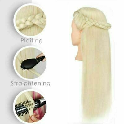 80% Real Human Hair Makeup Hairdressing & Training Head Mannequin Doll + Clamp