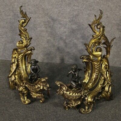 Pair of firedogs andirons in gilt bronze fireplace 800 19th century antique