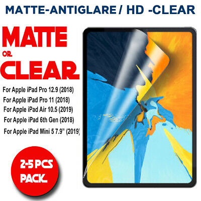 """Clear/Matte Screen Protector for iPad Pro 11"""" 12.9"""" (2018) Air 10.5"""" Mini 5 7.9"""""""