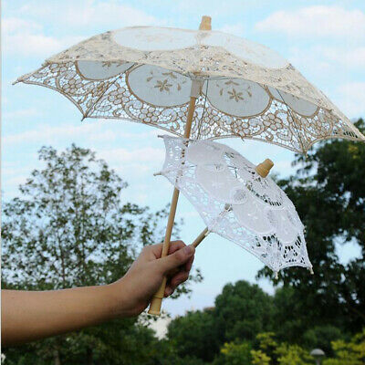 Lace Embroidered Sun Parasol Umbrella Bridal Wedding Dancing Party Photo Show R