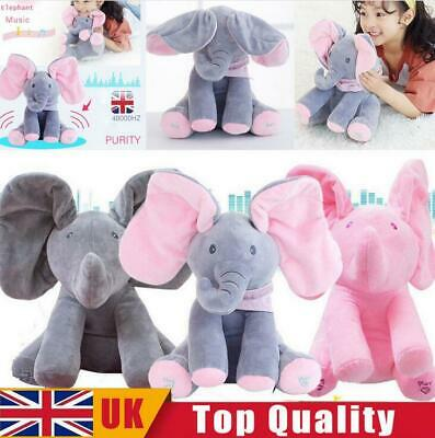Peek-a-boo Singing Elephant Music Doll Plush Toy Stuffed Toys Kids XMAS Gift UK