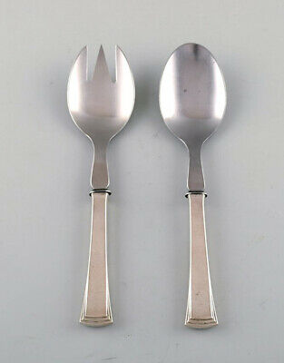 Evald Nielsen number 32 salad set in silver (830) and stainless steel